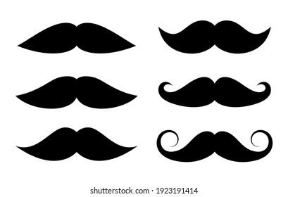 Moustache icons set, vector illustration on white background
