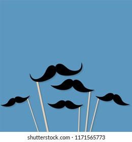 Moustache photo booth props. Mustache cut outs. Vector background