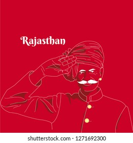 A moustache Rajasthani Indian man saluting. Red and pink colour background. A royal court-man wishing in a typical Indian attire or dress. From Jaipur or other Rajasthan city