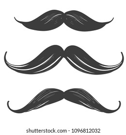 moustache set, manhood, humorous mask, icon cartoon hand drawn vector illustration sketch
