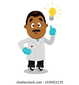Moustached afro-american man, scientist, researcher in lab coat and gloves standing and showing eureka gesture. African man has idea. Vector cartoon illustration isolated on white background.