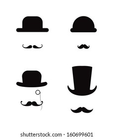 Moustaches and  hats, gentleman vector set
