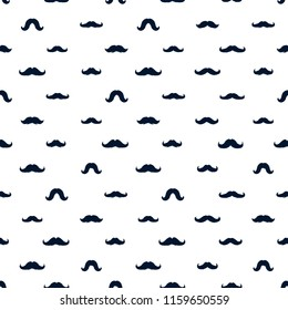 Moustaches Seamless Patterns for November Holiday Wrapping Paper. Dark Blue Vector Mustache Silhouettes for Fabric Textile Design. Cinco de Mayo, Vintage Mustaches Carnival Design. White Background