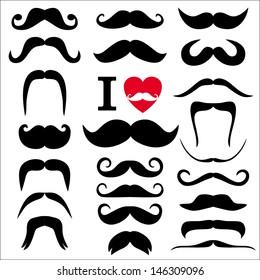 Moustaches set. Design elements.