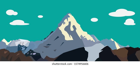 Moutain winter. Blue Sky. Vector Illustration.