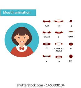 Mouth animation. Girl icon. Speaking talking mouth vector isolated set. Phoneme mouth shapes collection for sound pronunciation.