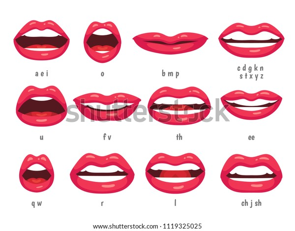 Mouth Animation Lip Sync Animated Phonemes Stock Vector Royalty Free 1119325025