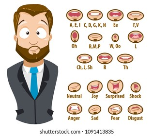 Mouth animation set for bearded businessman character. Lip sync collection for character animation. Flat style vector illustration isolated on white background.