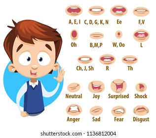 Mouth animation set for cute boy in school blue uniform. Lip sync collection for character animation. Flat style vector illustration isolated on white background.