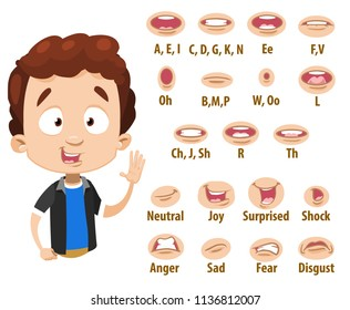 Mouth animation set for cute boy character. Lip sync collection for character animation. Flat style vector illustration isolated on white background.