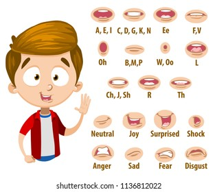 Mouth animation set for cute boy in red shirt. Lip sync collection for character animation. Flat style vector illustration isolated on white background.