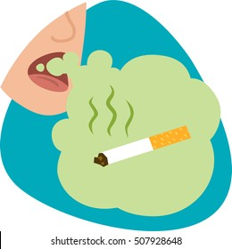 Mouth breath with cigarette smell. Stinky green cloud with smoking cigarette. Isolated symbol. On blue background.