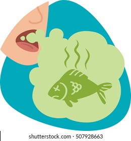 Mouth breath with dead fish smell. Stinky green cloud with dead fish. Isolated symbol. On blue background.