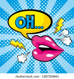 mouth and chat bubble with oh message