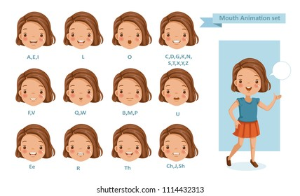 Mouth  girl animation. lip sync collection for animation.  talking mouth. Accent and pronunciation speak. tongue and articulate. Cartoon vector  poses illustration isolated white background