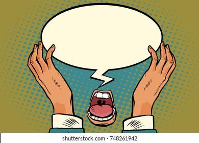 mouth hands comic message. Pop art retro vector illustration