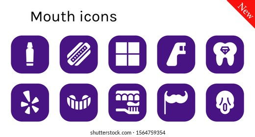 mouth icon set. 10 filled mouth icons.  Simple modern icons about  - Toothpaste, Harmonica, Delicious, Dental floss, Tooth, Yelp, Gum shield, Toothbrush, Moustache, Scream
