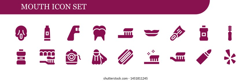 mouth icon set. 18 filled mouth icons.  Simple modern icons about  - Scream, Toothpaste, Dental floss, Tooth, Toothbrush, Lips, Fins, Mouthwash, Floss, Harmonica, Lipstick, Yelp