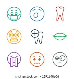 mouth icons. Trendy 9 mouth icons. Contain icons such as surprised emot, upset emot, crying emoji, love, dental care, shocked emoji, tooth, yawn emot. mouth icon for web and mobile.