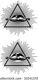 Mouth lips with rays and triangle around it