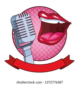 mouth and microphone round icon