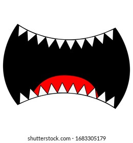 mouth of a monster with sharp teeth for the inscription, the fangs of vampire dracula halloween