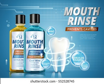 Mouth rinse ads, refreshing mouthwash products in different flavor with healthy tooth model in 3d illustration, blue background