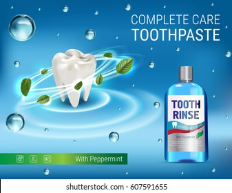 Mouth rinse ads. Vector 3d Illustration with Mouth rinse in bottle and mints leaves. Poster with product on blue background.