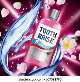 Mouth rinse ads. Vector 3d Illustration with Mouth rinse in bottle and rosehip flower. Poster with product on red background.