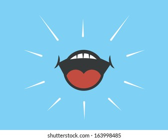 Mouth shouting with blue background
