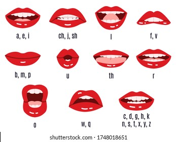 Mouth sound pronunciation. Lips phonemes animation, talking red lips expressions, mouth speech sync pronounce vector isolated symbol set. Mouth speech english, speak sound and talk illustration