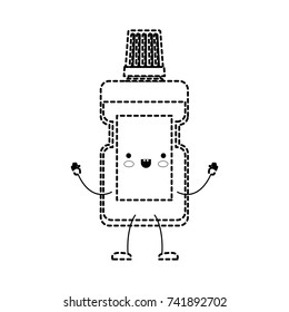 mouthwash cartoon in black dotted silhouette vector illustration