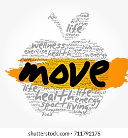 MOVE apple word cloud collage, health concept background