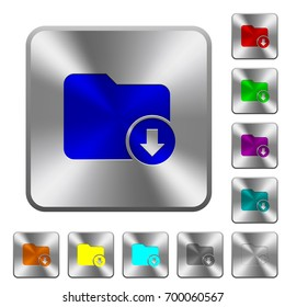 Move down directory engraved icons on rounded square glossy steel buttons