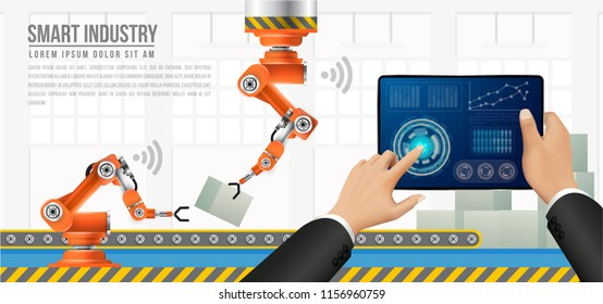 Move to factory and industry in the future. People connecting with a factory using smartphone,tablet and exchanging data with a neural network. Smart industry 4.0 infographic. Artificial intelligence.