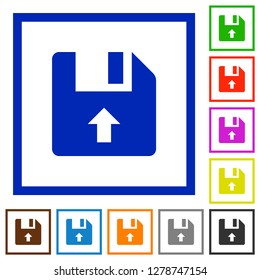 Move up file flat color icons in square frames on white background