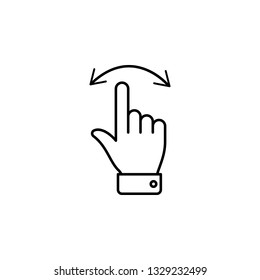move left and right swipe finger gesture outline icon. Signs and symbols can be used for web, logo, mobile app, UI, UX