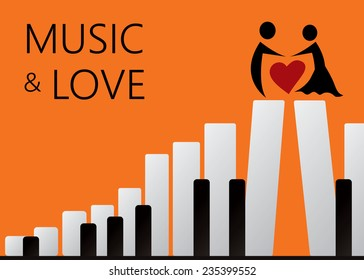 Move And Music Artwork Stairs Towards Lover Beautiful Love Art Vector