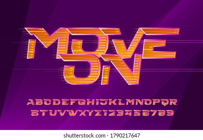 Move On alphabet font. Fast speed effect letters and numbers. Abstract blurred background. Stock vector typescript for your design in sport style.