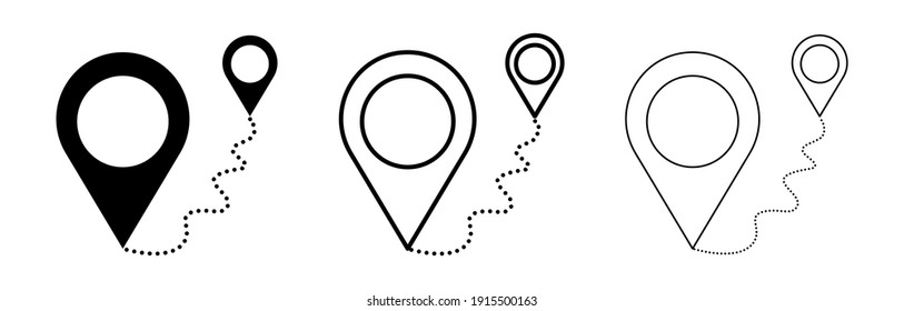 Move from one location to another. Location sign icon. Map location sign. The star has declared the vector icon of simple location points. Icon set of different thickness.