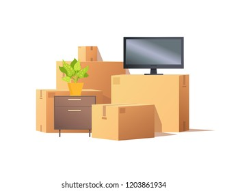 Move in relocation, furniture and carton boxes with personal belonging vector. Containers with things, chest of drawers with plant, tv set screen
