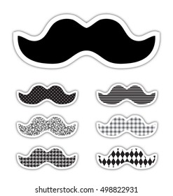 Movember awareness month stickers, eps10 vector
