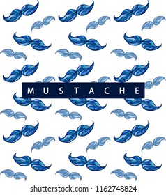 Movember.Vector pattern with mustache. Men's Cancer awareness month