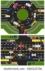 Movement of autonomous smart machines. Scanning roads, interaction. Automatic stops and traffic in a circle, crossing and along a straight road. Vector illustration.