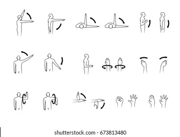 movement of human shoulder arm and hand set simple black line design