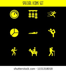 movement icon. 9 movement set with ballet, speed, runer silhouette running fast and accelerator vector icons for web and mobile app