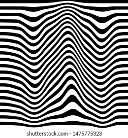 Movement lines illusion. Abstract wave whith black and white curve lines. Vector optical illusion.