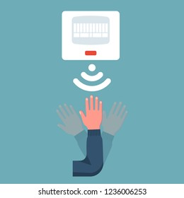 Movement sensor. A man waves his hand in front of the sensor. Vector illustration flat design. Isolated on background.