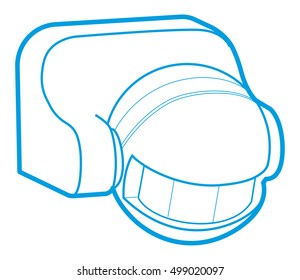 Movement and sound indoor sensor for automatic switching of light. Vector illustration. Motion Sensor Icon.