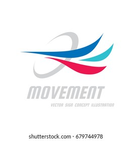 Movement - vector business logo template concept illustration. Abstract colored dynamic shapes. Progress development sign. Design element.